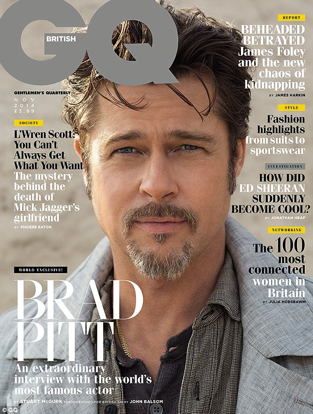 brad pitt on the cover of british gq magazine