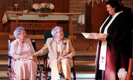 Vivian Boyack and Alice 'Nonie' Dubes during their wedding ceremony on Sept. 6th, 2014 in Davenport, Iowa