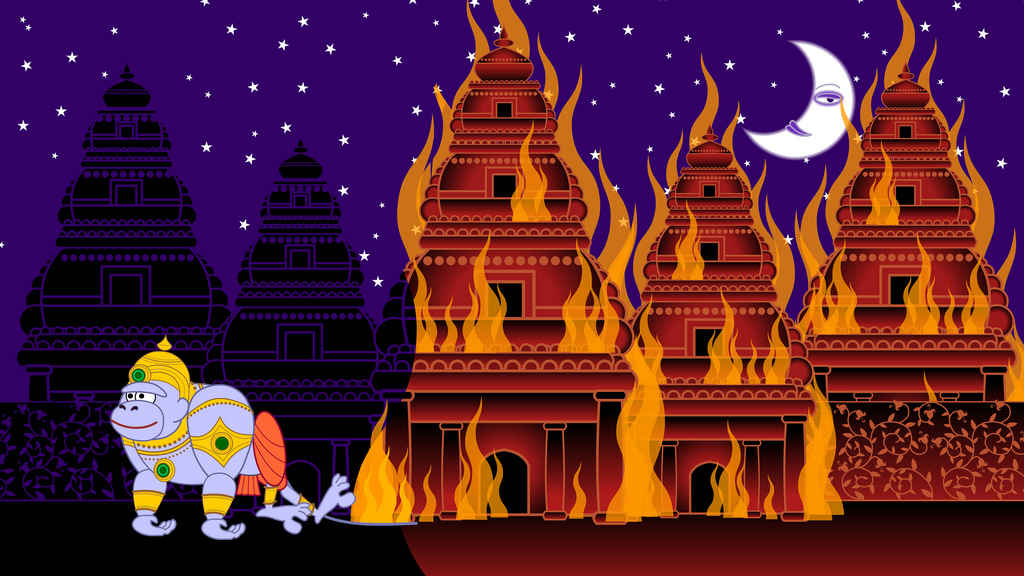 hanuman lighting up lanka with his tail