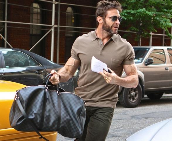 hugh jackman carrying a gym bag