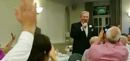 john serenading his surprised daughter at her wedding reception