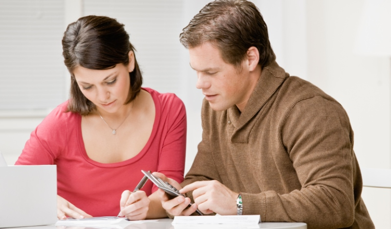 couple sorting out finances