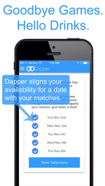 dapper app page showing the available dates of a user