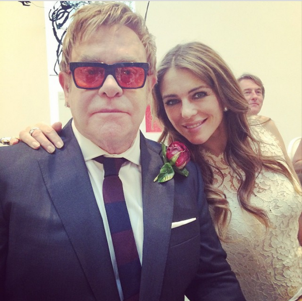 elizabeth hurley with elton john at his wedding ceremony