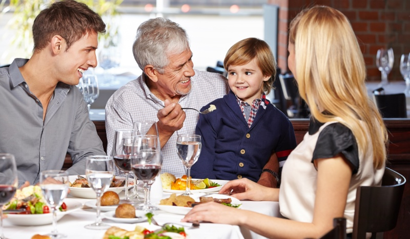 family at a restaurant