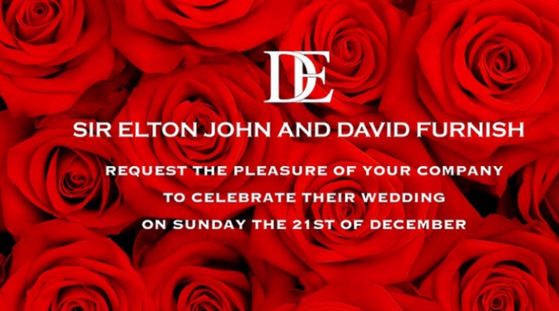 the invite to sir elton john and his partner's wedding shared on the former's instagram account