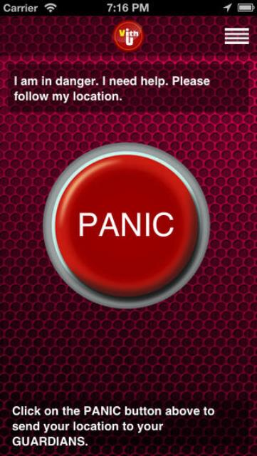 vith u app page showing the panic button
