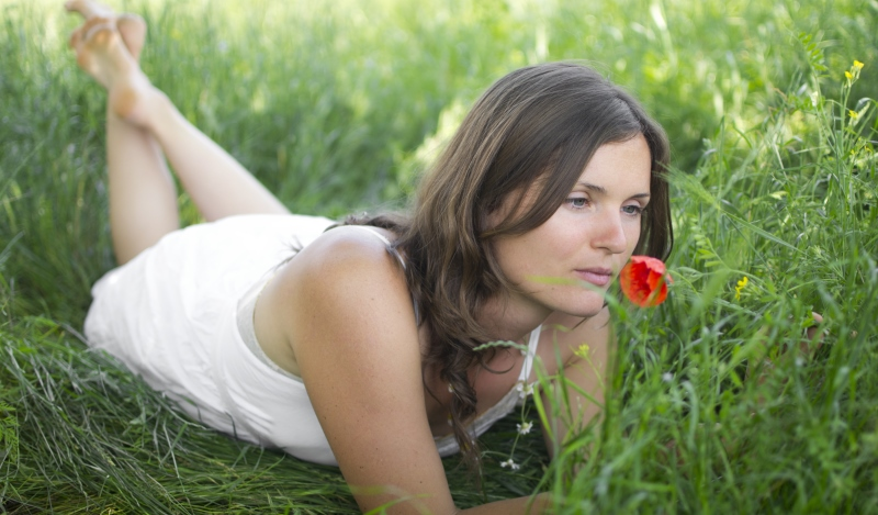 woman comfortable in her own skin