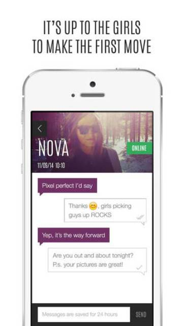 antidate app page showing the woman making the first move