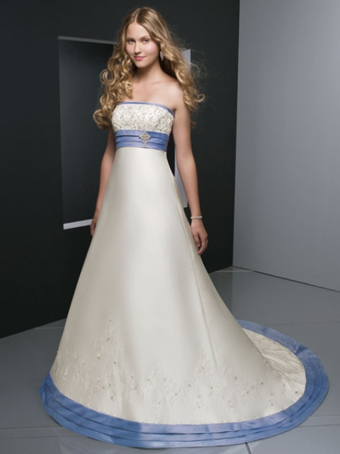 empire waist wedding dress, with a blue trim
