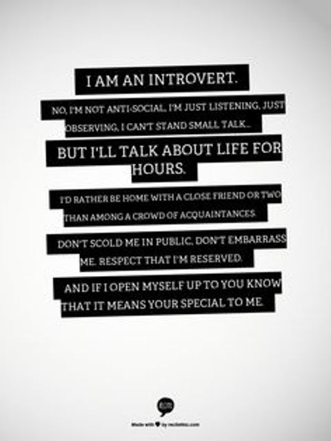 "an extrovert dating an introvert Introversion isn't just one personality type while people are generally categorized as ""an introvert"" or ""an extrovert,"" the truth is that there is a lot of complexity within those two core types."