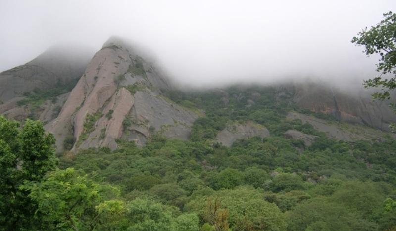 mist covered savanadurga forest