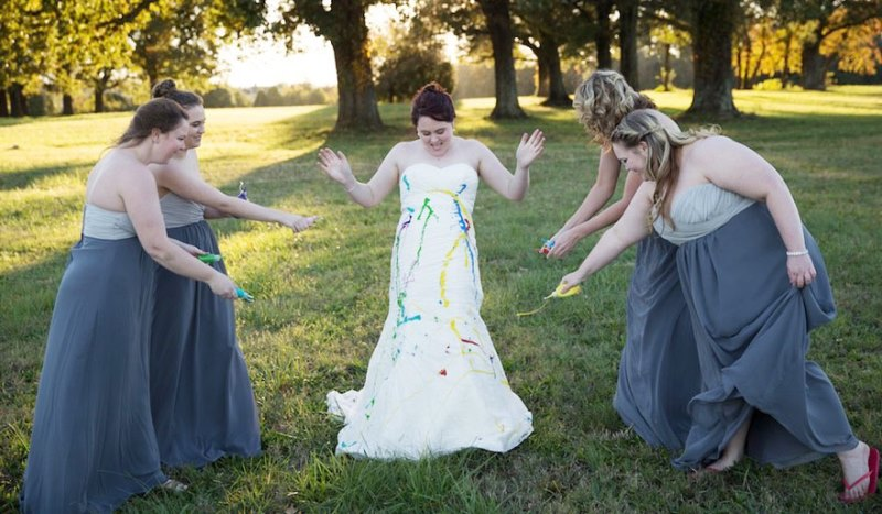 shelby's bridesmaids helping her 'trash the dress'