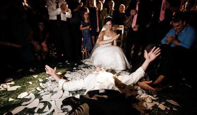 smashing plates at a german wedding