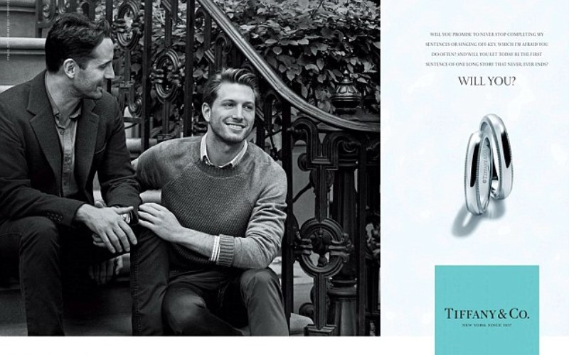 tiffany ad featuring a same-sex couple on a new york stoop, who are apparently dating in real life