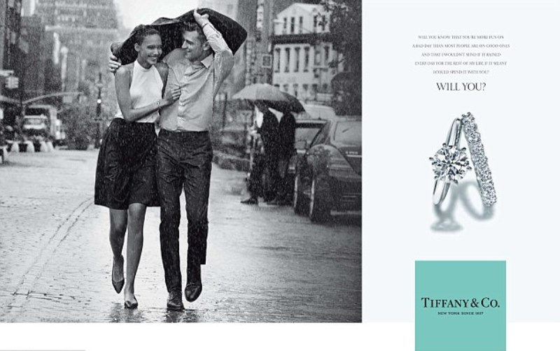 tiffany ad showing a couple walking in the rain