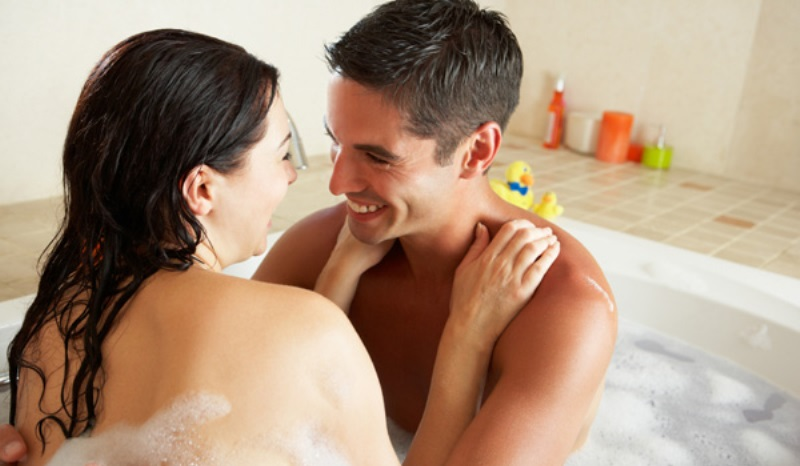 couple in a bathtub