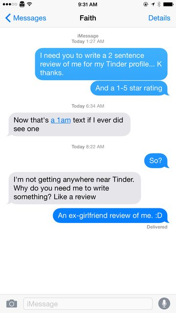 faith, one of jake's former girlfriends, texted back to his request for a review