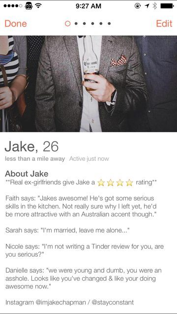 jake's updated tinder profile