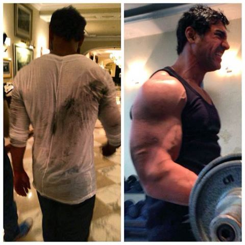john abraham sweating it out at the gym