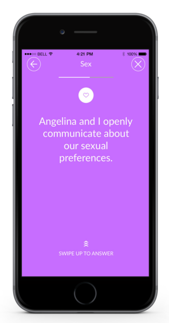 marriage material app page showing one of the questions