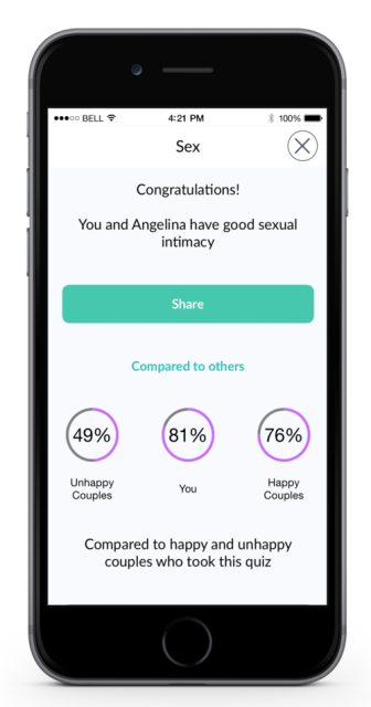 marriage material app page showing the result of one of the questions under sex