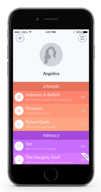 marriage material app page showing the various categories under quizzes