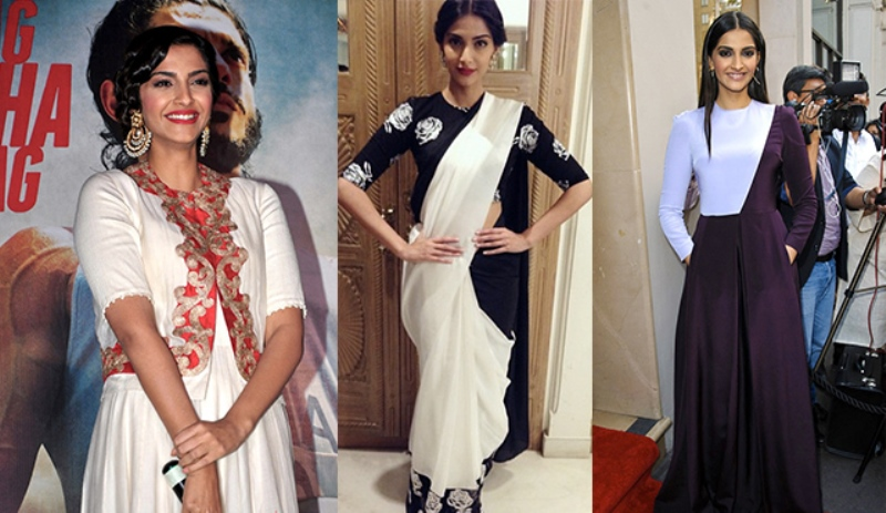 sonam kapoor showing off her enviable figure in various outfits