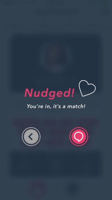 fuzzybanter app page showing a mutual 'nudge'