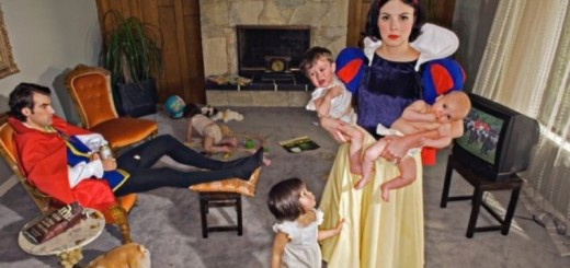 snow white shown holding two kids and a third trying to get her attention, stuck in an unhappy marriage - Copy