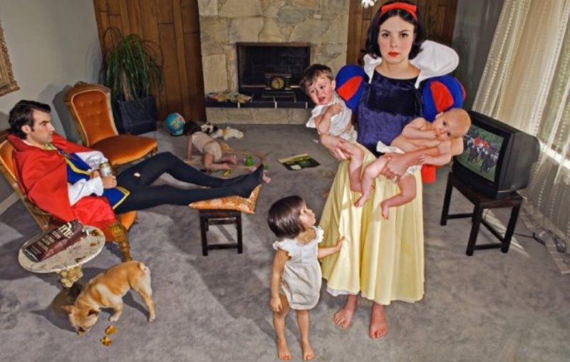 snow white shown holding two kids and a third trying to get her attention, stuck in an unhappy marriage