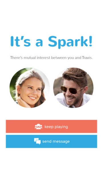 sparkstarter app page showing a mutual match - spark