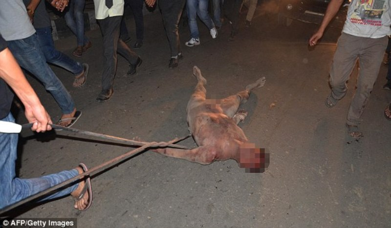 the accused being dragged through the streets of dimapur, nagaland