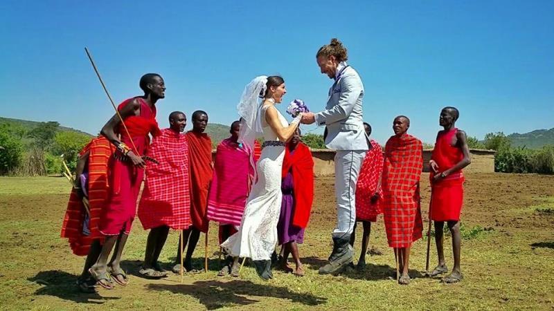 their wedding in masai mara village