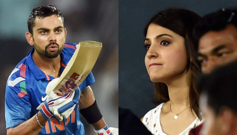 virat kohli blew a kiss to his lady love anushka sharma who was in the stands