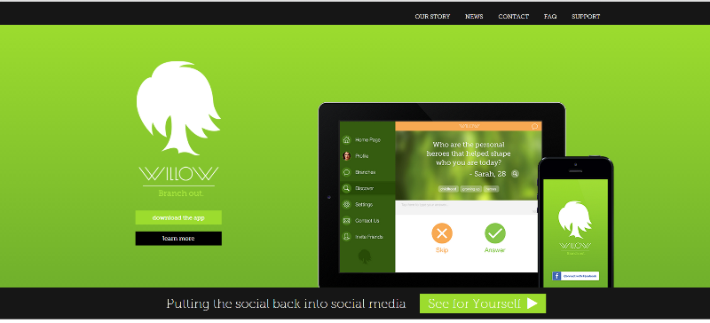 willow app home page