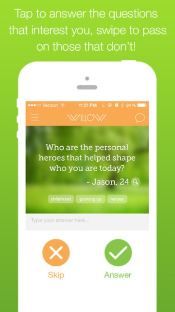 willow app page showing one of the questions posed by a user