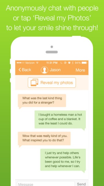 willow app page showing two users chatting anonymously