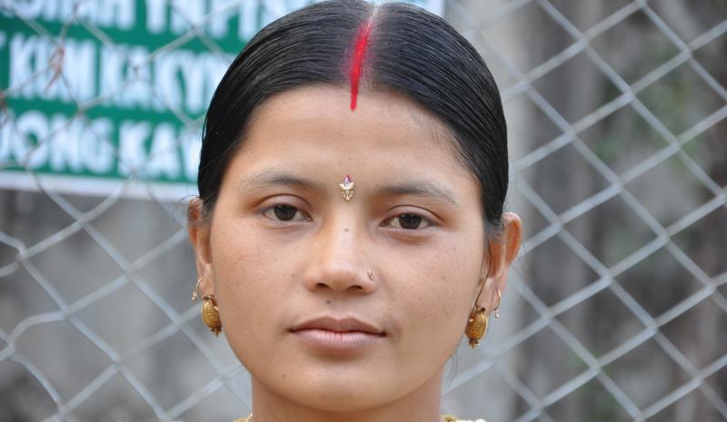 woman wearing sindoor