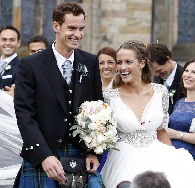The ecstatic newly-weds- Andy Murray and Kim Sears Murray