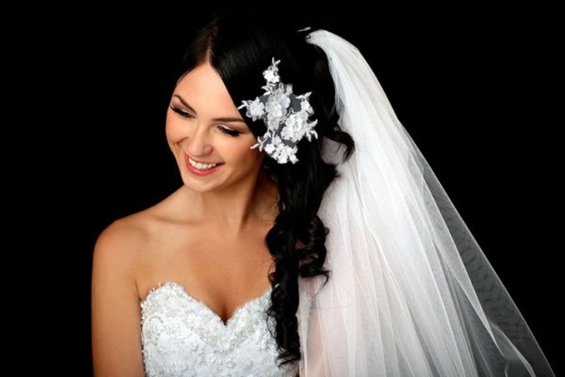 Sideswept wedding veil