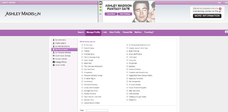 ashley madison ideal match page