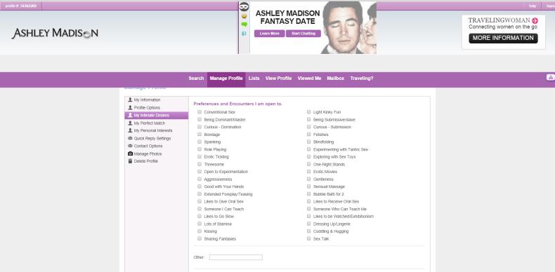 ashley madison sexual tastes page
