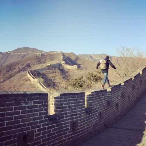 chris on the great wall of china
