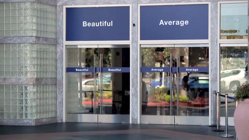 doorways marked average and beautiful