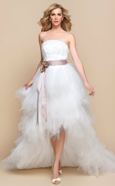 dramatic and asymmetric a line wedding dress