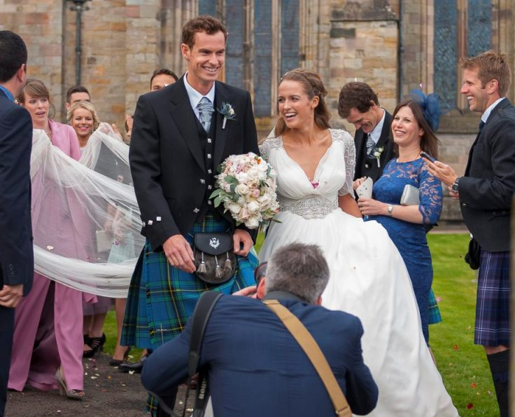 Andy Murray and Kim Sears emerge Mr. and Mrs. Murray from the Dunblane Cathedral