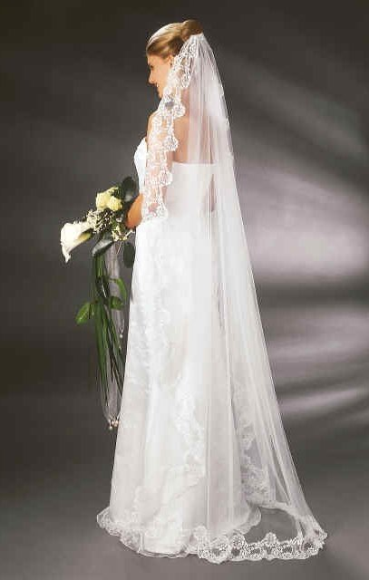 floor-waltz length wedding veil