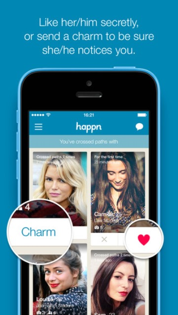 happn dating app page showing the 'charm' and 'like' features
