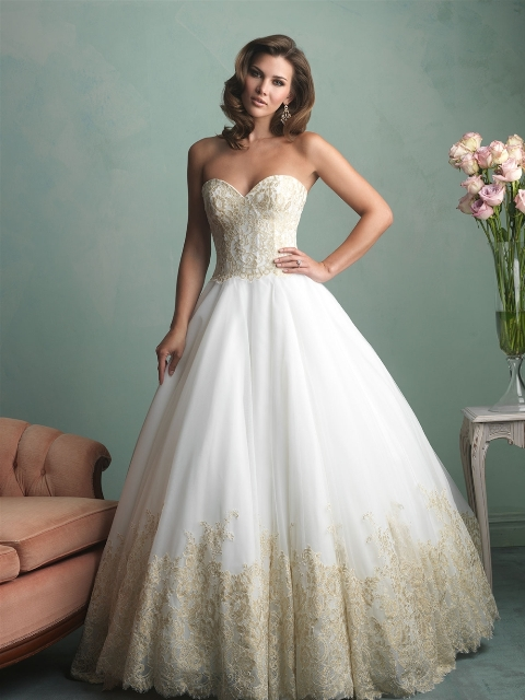 lace on organza wedding dress